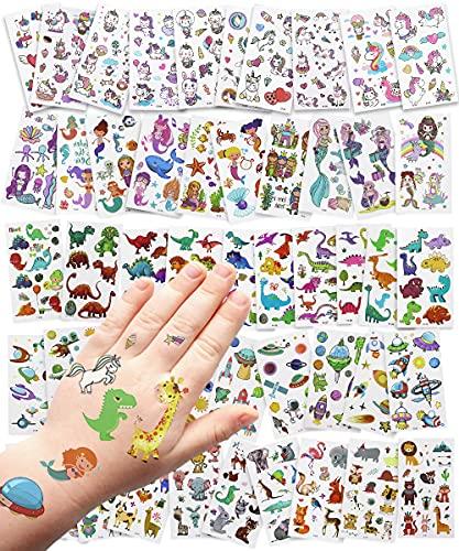 Ropiaece Tatuaggi Temporanei Bambini, 50 Fogli Adesivi Bambini Set, Trasferelli per Bambini Inclusi Animali Dinosauri Spazio Unicorni Sirene, Regali Gadget per Festa di Compleanno Bambina e Ragazzo