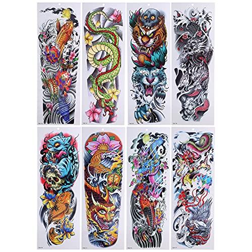 Tatuaggi Temporanei 8 Fogli Tatuaggi Finti Colorati Braccio Completo Adesivi Tatuaggio Grandi Impermeabili Duraturi Body Art per Uomo Donna (170 X 480mm)