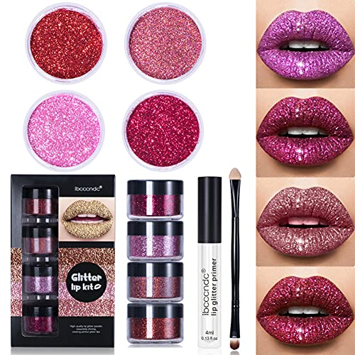 Ysimee Cosmetics Glitter Lip kit 4 colori, Glitter Lip Gloss, Rossetto liquido duraturo impermeabile Labbra, no-sticky, dorato nero rosa blu grigio rosa