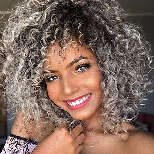 Parrucca grigia riccia per donna sintetica mista con frangia per capelli neri da donna, resistente al calore, lunghezza della spalla, parrucca afro crespa, ricci