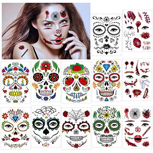 HOWAF Halloween Tatuaggi viso Temporanei (12 fogli), Cranio Floreale Nero Scheletro ragnatela Rose rosse viso Temporaneo Tattoos Adesivi per Donna Adulto Uomo Bambini Halloween Party Trucco
