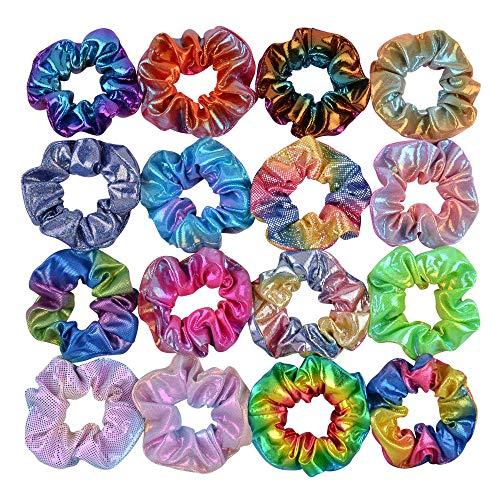 Confezione da 20 elastici per capelli, con motivo a sirena, colore metallizzato, per donne e ragazze e bambini