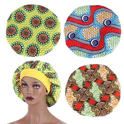 Sethain, cuffia da notte in stile africano, confezione da 3 pezzi, turbante fiore doccia cuffia boho chemo cuffia per capelli da indossare per la testa da donna