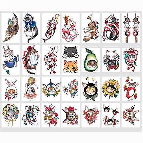 LSRSPDH Tatuaggi Temporanei for Le Donne Ragazze 28 Fogli Watercolor Animali Adesivi Tatuaggio Temporaneo Carino Gatto for Ragazze Ragazzi Bambini Impermeabili Tatuaggi Simulazione Adesivi Tatuaggio