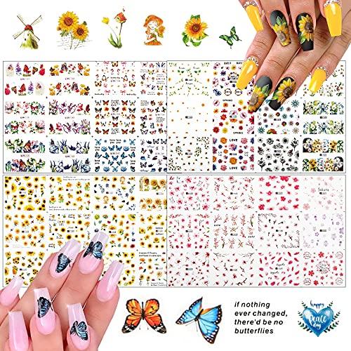 FLOFIA 48 Modelli Adesivi Unghie Trasferimento ad Acqua Nail Stickers Water Decals Decalcomania Adesivi Unghie Trasferimento per Decorazione Nail Art Fai da Te 4 Fogli Grandi