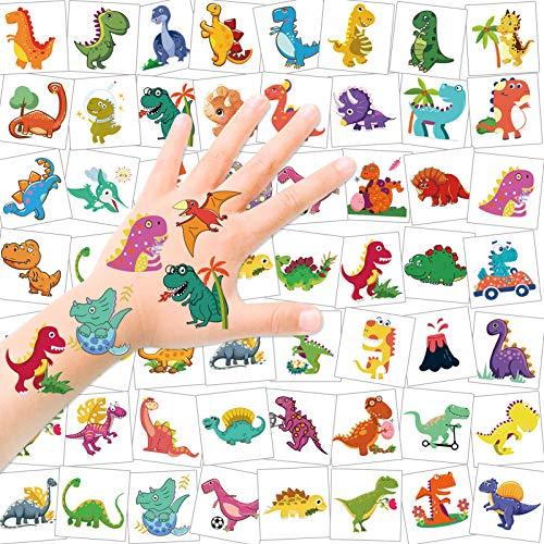 HOWAF Dinosauro Tatuaggi temporanei per Bambini, 96pcs Tatuaggi Finti Temporanei Adesivi Dinosauri Giocattoli Gadget, Regali per Bambini Dinosauro Festa di Compleanno per Ragazze Ragazzi