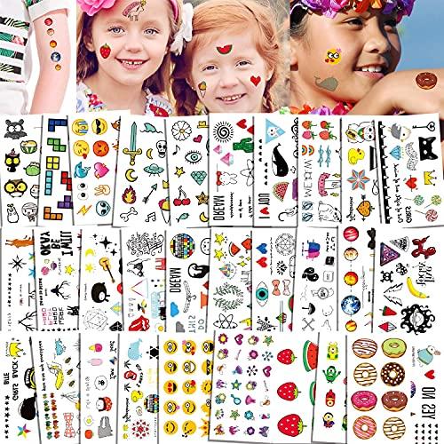 Qpout 380xTatuaggi temporanei per bambini, simpatico cartone animato lecca-lecca impermeabile,corona,gatto,fragola,ape,ciambelle tatuaggi adesivi ragazze ragazzi festa regali di compleanno per bambini