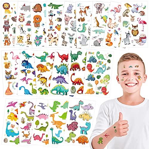 yumcute Tatuaggi Temporanei per Bambini, Tatuaggi Finti Bambini Impermeabili de Dino Animale, per Compleanno Ragazze Accessori per Feste Goodie Bag Stuffers Riempitivi per Feste