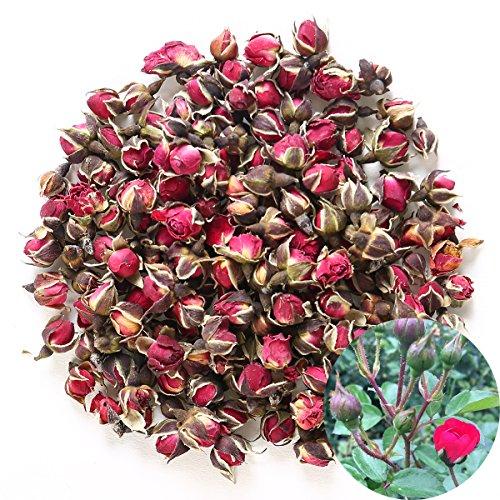 TooGet Profumato Naturale Profondo Rosso Rosa Boccioli di Petali di Rosa Essiccati Golden-Rim Rose Fiori all'Ingrosso, Cibo Commestibile - 115g