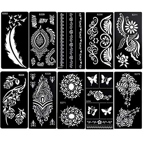 Konsait Tatuaggi Temporanei Stencil Riutilizzabili piuma farfalla mandala fiore gioielli Corpo Glitter Tatuaggio Stencil per Adulti donne Bambini Feste Forniture (10 Fogli)