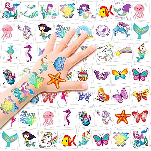 HOWAF Tatuaggi temporanei per Bambini, 80 Foglio Tatuaggio Set de Unicorno Farfalla Sirena Tattoo Bambini Tatuaggi Finti Adesivi per Bambini Festa di Compleanno Sacchetti Regalo Giocattolo