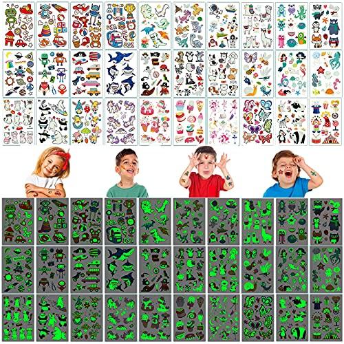 30 Fogli Tatuaggi per Bambini, Tatuaggi Temporanei per Bambini,Luminous Adesivi Tatuaggi Finti,Set di Tatuaggi Animali,Tatuaggi Flash per Bambini,Tatuaggi Bambini,Impermeabile Tatuaggio Temporaneo