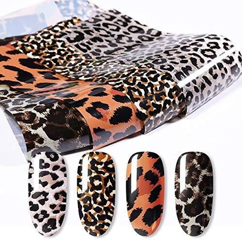 HCYY Adesivi per Unghie 10 Rotoli Snake Leopard Nail Foil Marble Nail Art Transfer Sticker Slider Nail Art Decal Manicure Design Tips Decorazione Decorazioni
