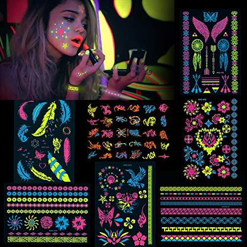 Konsait 7 grandi fogli tatuaggi temporanei neo, oltre 100 disegni luccicanti bagliore UV neon corpo viso tatuaggio adesivi flash finti impermeabili Tatuaggio Temporaneo per donne ragazze