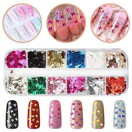 Xinzistar 12 Colore Glitter Unghie Paillettes Brillantini La Farfalla Set Gel Glitter per Unghie Adesivi Decorazioni DIY per Viso Corpo Occhi Nail Art