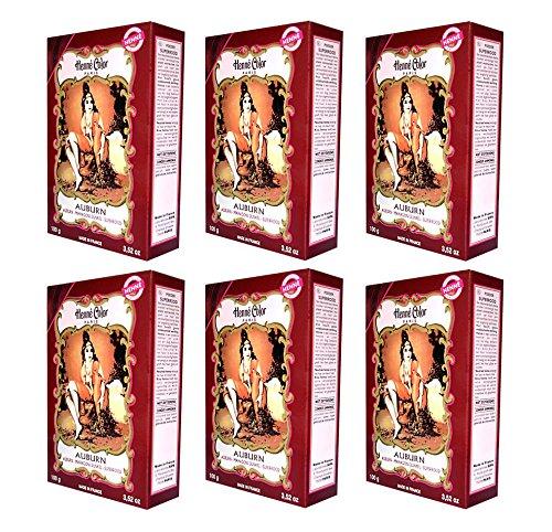 6X 100G Henna Color Natura tinture per capelli polvere colore Oeko Mogano Scuro (Auburn)-6stueck
