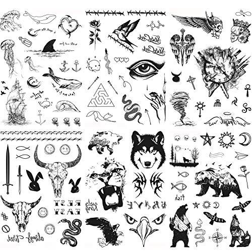 Konsait Drago Lupo Leone Tigre finti tatuaggi temporanei neri impermeabile halloween Tatuaggio Temporaneo Tattoo Sticker per adulti uomo donna bambini