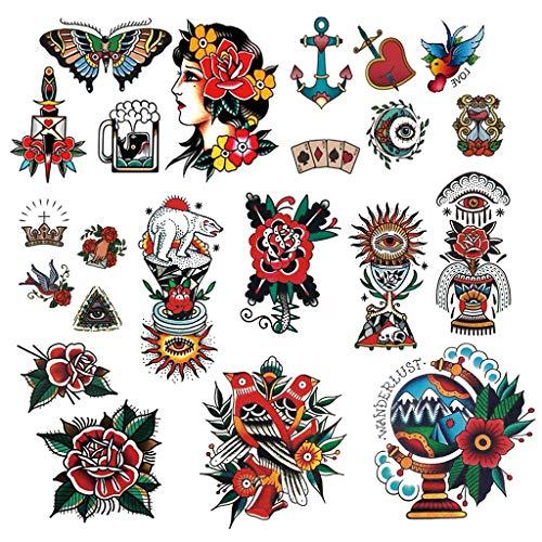 CARGEN Tatuaggi di vecchia scuola Adesivi di vecchia scuola Diverse dimensioni Adesivo vintage impermeabile Braccio di fiori Tatuaggi rosa Rondini Tatuaggi Farfalle Tatuaggi Tatuaggi di spade
