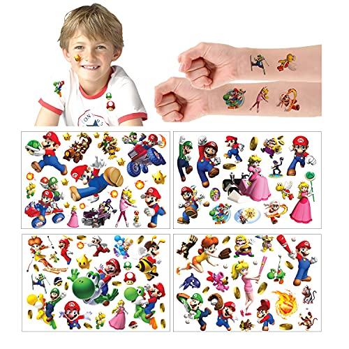 Super Mario Tatuaggi temporanei adesivi per la pelle (oltre 100 disegni), compleanno per ragazzi ragazze materiale scolastico per bambini, oggetti di scena per feste, adesivi per bambini regali