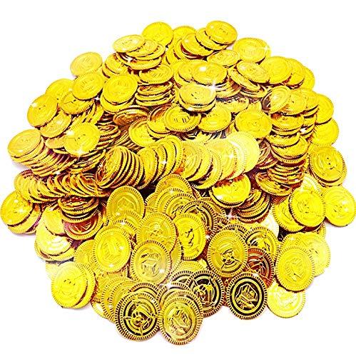 JOYUE 150 Pezzi Monete d'oro Pirata, Tesoro d'Oro per Party Pirata, Tesori per la Caccia al Tesoro Bambini Compleanno Decorazione del Partito Regalo