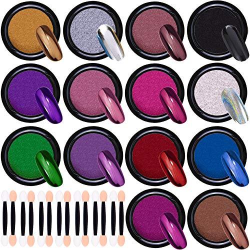 Duufin 14 Scatole Polvere per Unghie Effetto Specchio Glitter a Specchio Polvere per Unghie Nail Art