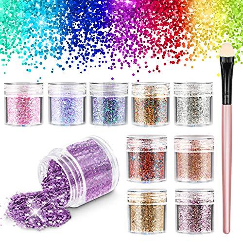 RenFox Glitter Cosmetici, Chunky Festival Glitter con Hexagons Glitter Paillette per Capelli Decorativi, Unghie, Guance
