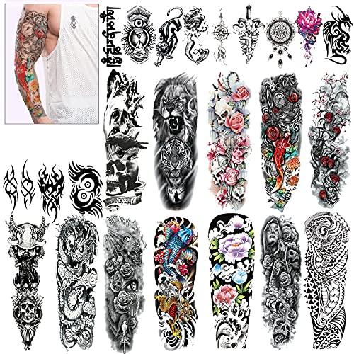 Konsait Grande tatuaggi temporanei braccio Tatuaggio Temporaneo Adesivi tatoo finti Rimovibili per adulti uomo donne, cranio drago leone (24 fogli)