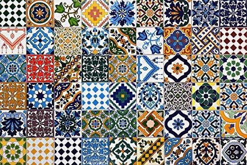 54 Mattonelle MISTE in ceramica smaltata. Pacco contenente 54 mattonelle decorate 10 X 10 cm spessore 0,6 cm - Mattonelle Tunisine realizzate con Serigrafia Artigianale. Adatte a rivestimento.