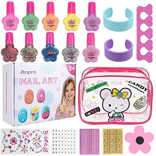 Anpro Set di smalti per Unghie per Principessa - Comodo Kit per Nail Art con Smalto per Unghie Staccabile Manicure Beauty per Bambine (B)