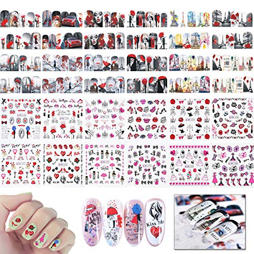 Adesivi Hearts Love Kiss Lips per Nail Art, Mwoot 24PCS Decalcomanie Fai da Te con Trasferimento ad acqua per la Cura Delle Unghie Nail Stickers Nail Tips decorazioni