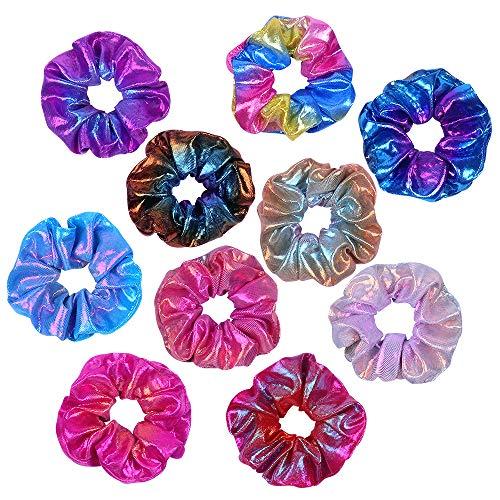 10 Pz Capelli Scrunchies, Pastello Scrunchies Elastici, Velluto Elastico Lucidi Metallici Accessori per Capelli per Donne o Ragazze