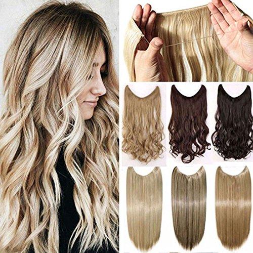 Mode extension -Extension capelli con filo invisibile, lisci,50 cm , marrone scuro