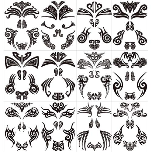 Qpout 12 pezzi Tatuaggi temporanei viso, Tatuaggi viso Maori Adesivi tatuaggio tribale impermeabile viso nero tribale per donna/uomo Festa di carnevale Festa a tema Maori Forniture per decorazioni