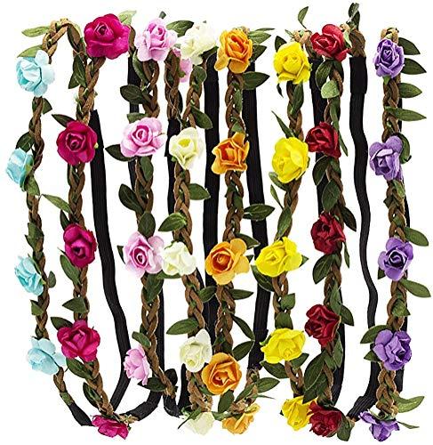 HBF Un set da 8 Cerchietti Capelli Rosa in Stile Boemia Accessori per Capelli Multicolori Cerchietto Regolabile Fiori per Donna Ragazza o Bambina Fascia Capelli Donna