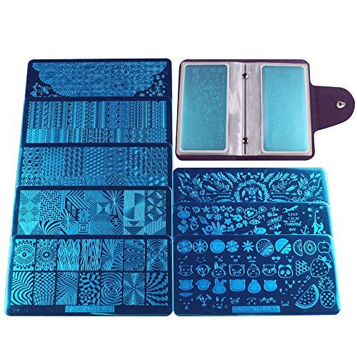 FingerAngel - Set di 8 stampini per unghie + 1 timbro per unghie con raschietto + 1 sacchetto per la conservazione delle unghie per nail art, piatto,