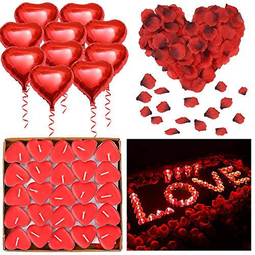 ASANMU Kit Romantiche Decorazioni, 1000 Pezzi Petali di Rosa Rossa + 50pcs Amore Cuore Candele Romantiche + 10pcs Cuore Rosso Palloncino Decorazioni Ideale per San Valentino Matrimoni Fidanzamento