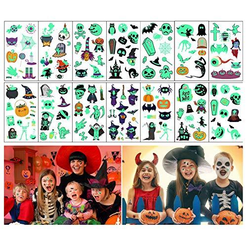 QUNPON Tatuaggi temporanei di Halloween per Bambini, 14 Fogli Tatuaggi Luminosi, Tatuaggi Strega Pipistrelli Zucca per Decorazioni per Feste di Halloween (Tatuaggi Halloween)