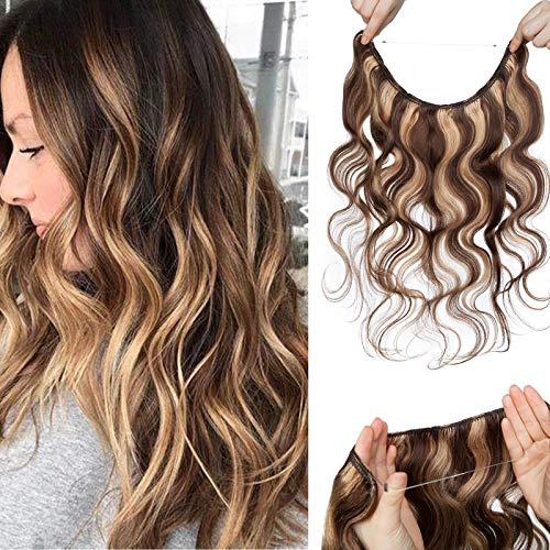 55cm - Extension Filo Invisibile Capelli Veri Ricci 75g Remy Human Hair Extension Capelli Naturali Filo Trasparente - 4P27 Marrone Medio & Biondo Scuro