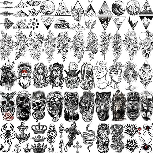 Shegazzi 52 Fogli Nero Tatuaggi Temporanei Adulti Donna Uomo Realistico Piccolo Leone Tigre Teschio Fiore Di Montagna Gangster Kit Tatuaggi Finti Bambini Braccio Mano Viso Collo Adesivi Del Tatuaggio