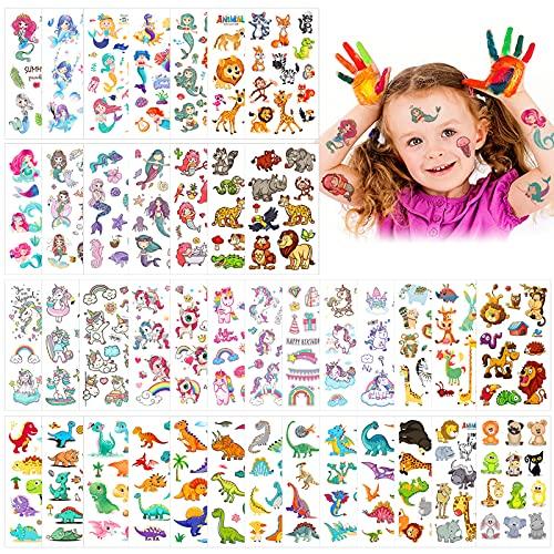 40pcs Tatuaggi per bambini,set di tatuaggi animali,Tatuaggi Temporanei per Bambini,Tatuaggio Temporaneo,Impermeabile Tatuaggio Temporaneo,Tatuaggi Finti Temporanei Adesivi,Adesivi per Tatuaggi