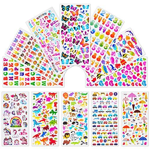 Leenou Adesivi per Bambini, 1000+ Adesivi 3D Stickers per Puffy Adesivi per Regali Gratificanti Scrapbooking Inclusi Camion, Unicorno, Animali, Pesci, Dinosauri, Numeri, Frutta e Altro (18 Fogli)
