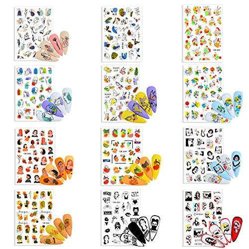12 Fogli Adesivi per Unghie Decalcomania Trasferimento ad Acqua 3d Nail Stickers Decals Nails,Unghie Autoadesivi Decorazioni per Manicure ,Salone Fai-Da-Te per Ragazze e Artigianato per Bambini