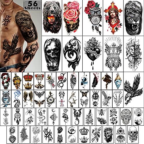 Tatuaggi temporanei 56 pezzi-impermeabile braccio tatuaggio piccolo tatuaggio, corone di fiori animale drago collezione tatuaggi per adulti uomini e donne