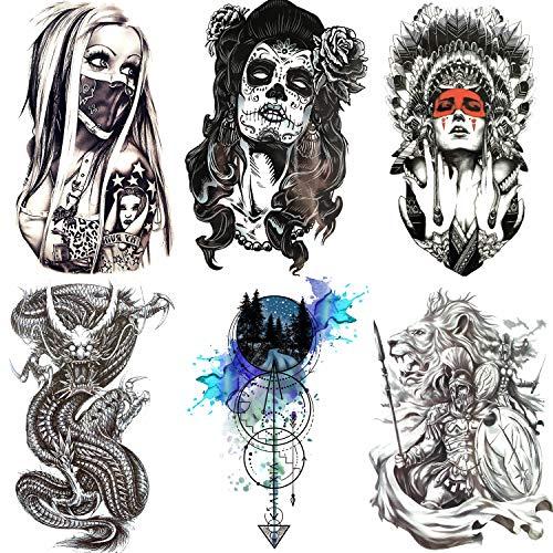 COKTAK 6 Fogli Grande Drago Nero Adesivi Tatuaggi Temporanei Per Uomo Ragazzi Morte Teschio Di Ancoraggio Impermeabile Tatuaggio Falsi Per Donna Braccio Gangster Spartano Guerriero Adulto Tattoos