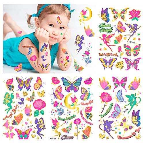 KonSait Tatuaggi per Bambini, Flash Tatuaggi temporanei Fata e Fiore e Farfalla Tatuaggi Finti Adesivi Giocattoli Gadget per Ragazza Bambini Regalo Festa Compleanno Impermeabile BambinaTatuaggi
