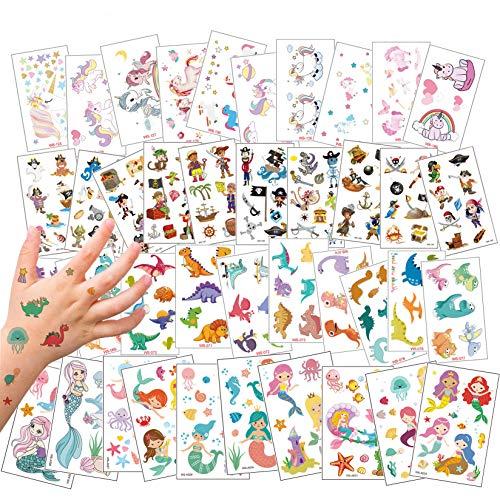 ROZO 40 Fogli Tatuaggi Temporanei per Bambini, Tatuaggi Finti Set per Bambini de Unicorno e Dinosauro e Pirata e Sirena, Tatuaggio Impermeabile per Ragazze Ragazzi, Tatuaggio per Feste di Compleanno