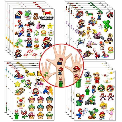 Mario Adesivi per Tatuaggi temporanei Super Mario Bomboniere per Feste Principessa Peach Yoshi Adesivi per Cartoni Animati per Feste Supplie (20 Fogli, Oltre 400 Stili)