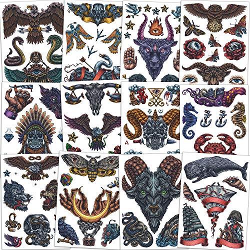 Qpout Tatuaggi temporanei tribali retrò Per uomo Donna Adulto, 12 fogli Falso Body Art Impermeabile Mezzo braccio faccia Petto spalla Tatuaggi adesivi Aquile Cranio Gufo Fiore Lupo Farfalla