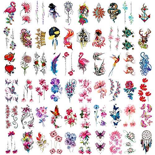 Qpout Tatuaggi Temporanei Per Adulti Donne Ragazze (60 Fogli), Impermeabili Tatuaggi Finti Adesivi Viso Body Art Manica Collo Polso Tatuaggi Colorati Mamba Farfalla Fiore Corona Piuma Acchiappasogni
