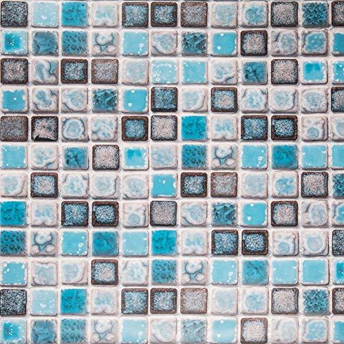 Hode Carta Adesivi per Piastrelle per Bagno e Cucina Impermeabile Autoadesivo Decorazione Adesivi per Piastrelle per Muro di Piastrelle Blu Mosaico 40X200cm